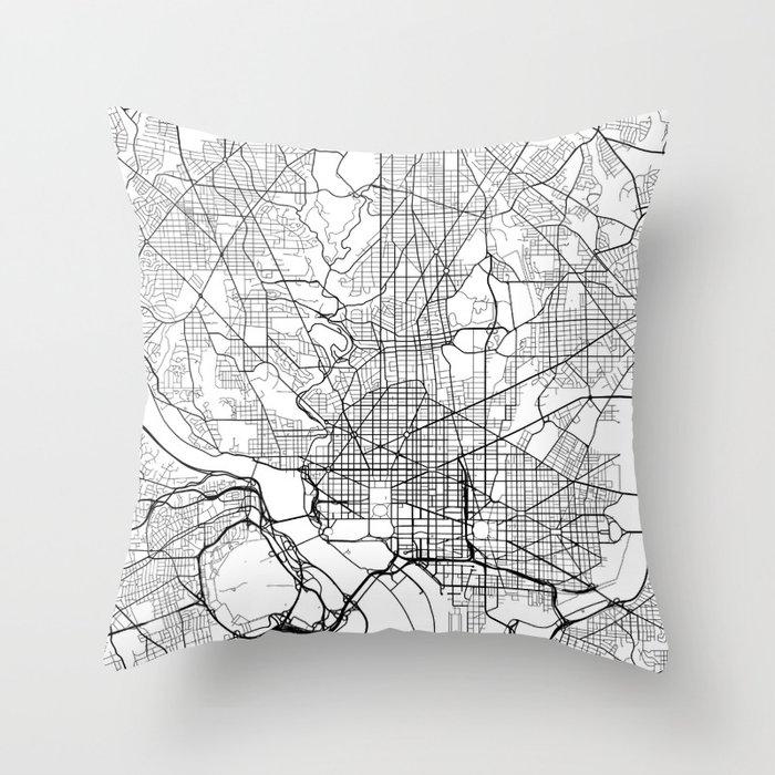Washington Dc Map Usa Black And White Throw Pillow By