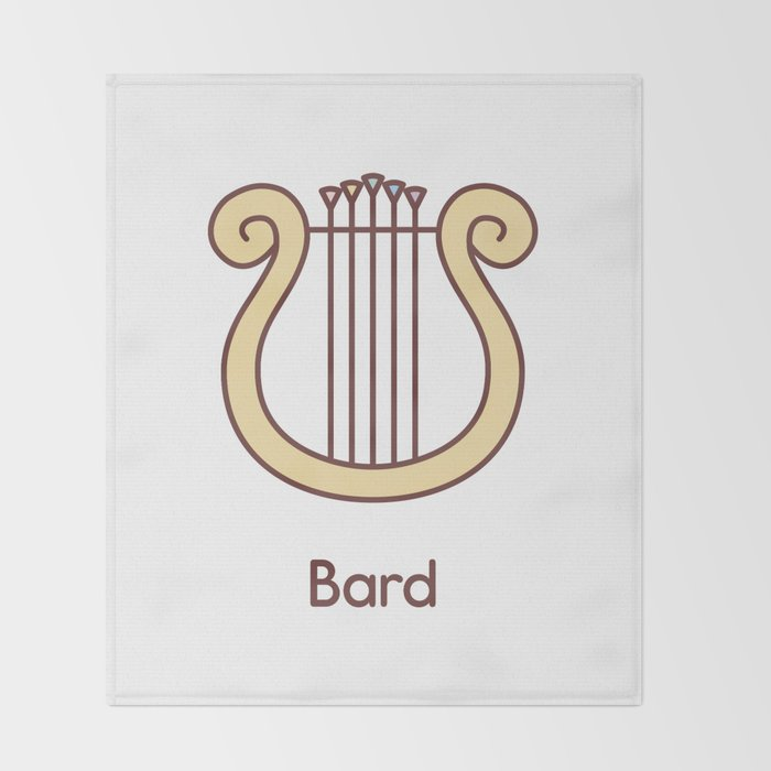 Cute Dungeons and Dragons Bard class Throw Blanket