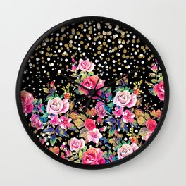Modern watercolor spring floral and gold dots pattern Wall Clock