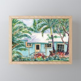Tropical Vacation Cottage Framed Mini Art Print