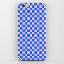 Cotton Candy Pink and Brandeis Blue Checkerboard iPhone Skin