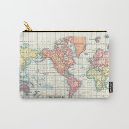 World Map - Colorful Continents Carry-All Pouch