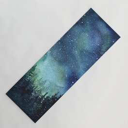 Galaxy Watercolor Aurora Borealis Painting Yoga Mat