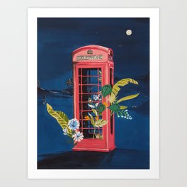 Night Phone Booth Art Print