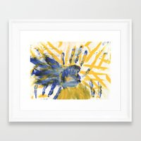 sun and moon Framed Art Prints featuring Sun-Moon by Lindsey Quakenbush