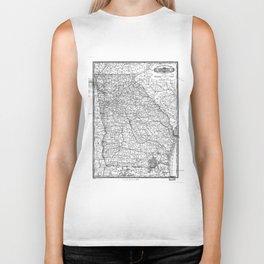 Vintage Map of Georgia (1883) BW Biker Tank