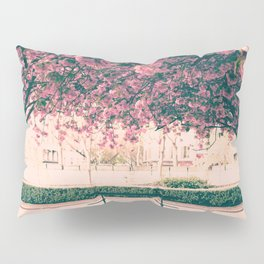 Paris, cherry blossom garden Pillow Sham