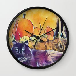 Black Cats & Pumpkins Wall Clock