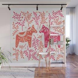 Swedish Dala Horses – Melon Palette Wall Mural