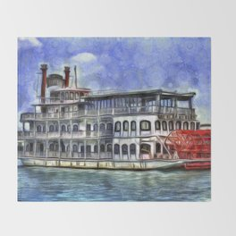New Orleans Paddle Steamer Van Goth Throw Blanket