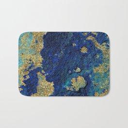Indigo Teal and Gold Ocean Bath Mat