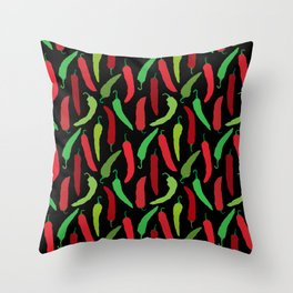 New Mexico Christmas Hatch Chiles in Black Throw Pillow