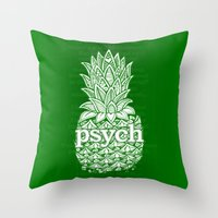 psych Throw Pillows featuring Psych Pineapple! by Alohalani