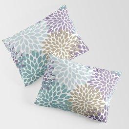 Festive Floral Prints, Purple, Teal, Gold Pillow Sham