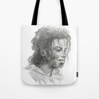 mike wrobel Tote Bags featuring Mike by QIQI DRAWS