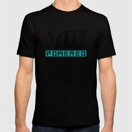 V8 powered blue T-shirt