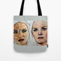 swan queen Tote Bags featuring Swan Queen by Bernadette Woods