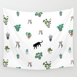 cats and pots pattern Wall Tapestry
