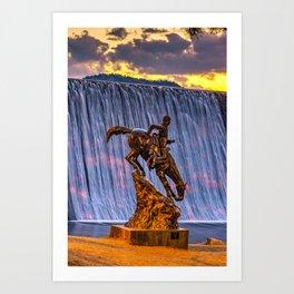 Mountain Man and Evergreen Colorado Lake Dam Waterfall at Sunset Art Print