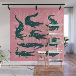 Alligator Collection – Pink & Teal Wall Mural