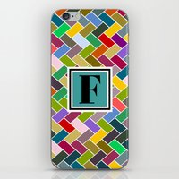 monogram iPhone & iPod Skins featuring F Monogram by mailboxdisco
