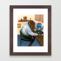 Another hard day for a buffalo Framed Art Print