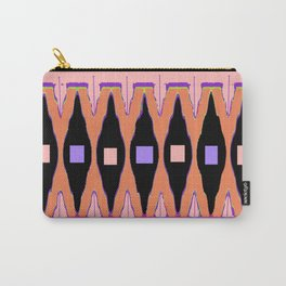 Coral -Salmon & Lilac Colored Western Black Accent  Art Design Carry-All Pouch