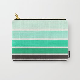 Light Teal Turquoise Green Minimalist Watercolor Mid Century Staggered Stripes Rothko Color Block Ge Carry-All Pouch
