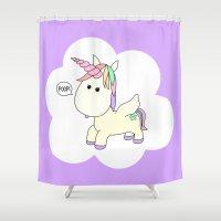 poop Shower Curtains featuring Unicorn Poop by Stephanie Keyes Design