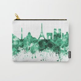 Paris skyline in green watercolor on white background Carry-All Pouch