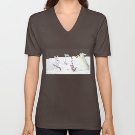 White rabbits dancing around red erica in snow mountain. Unisex V-Neck