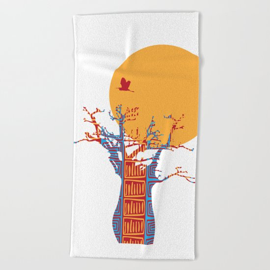 African Baobab tree of life at Sunset Beach Towel