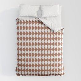Sherwin Williams Cavern Clay and White Harlequin, Rhombus, Diamond Pattern Comforters
