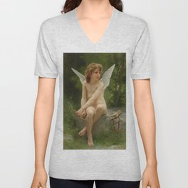 """William-Adolphe Bouguereau """"Love on the Look Out"""" Unisex V-Neck"""