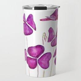 purple clover leaves Travel Mug