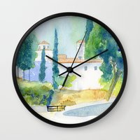 greek Wall Clocks featuring Greek monastery by Carl Conway