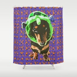 """Ghoulish Gal"" ~ Happy Halloween Dachshund, Weiner Dog, Doxie, everywhere! Shower Curtain"