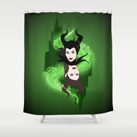 maleficent Shower Curtains featuring Maleficent by Pendientera