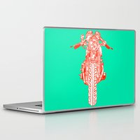cafe racer Laptop & iPad Skins featuring Cafe Racer front view by Paul McCreery