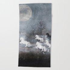 Five Horses and a Fox Beach Towel