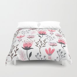 Pink and Gray Tulips Duvet Cover