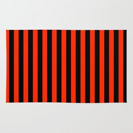 Bright Red and Black Vertical Stripes Rug
