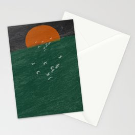 Watching from the boat seagulls in the moonset Stationery Cards