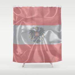 Silk Austrian Flag and Coat of Arms Shower Curtain