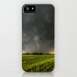 Beautiful Storm - Tornado Emerges From Rain Over Wheat Field in Kansas iPhone Case