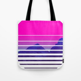 VAPORWAVE Sunset Mountains Scenery Tote Bag
