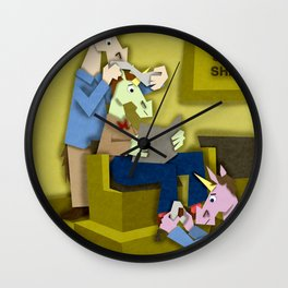 Horn & Shoe Shiner Unicorn Wall Clock