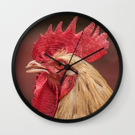 red and white hen coq Wall Clock