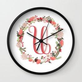 Personal monogram letter 'U' flower wreath Wall Clock