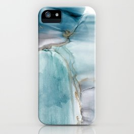 Glacier - alcohol ink, teal, Prussian Blue, gray, gold color accents, fluid art iPhone Case